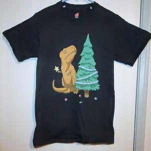 Dinosaur Christmas tree tee shirt in size small